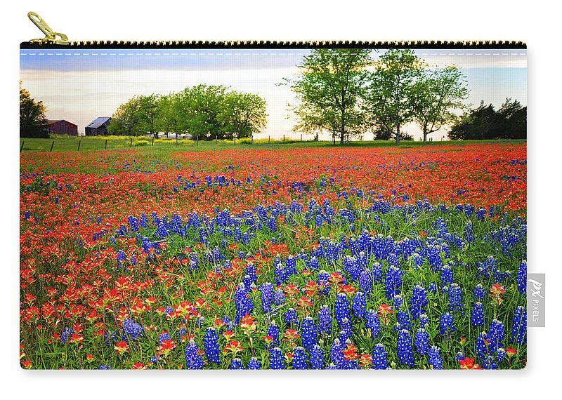 Bluebonnets In The Texas Hill Country Carry-all Pouch featuring the photograph Wildflower Tapestry by Lynn Bauer