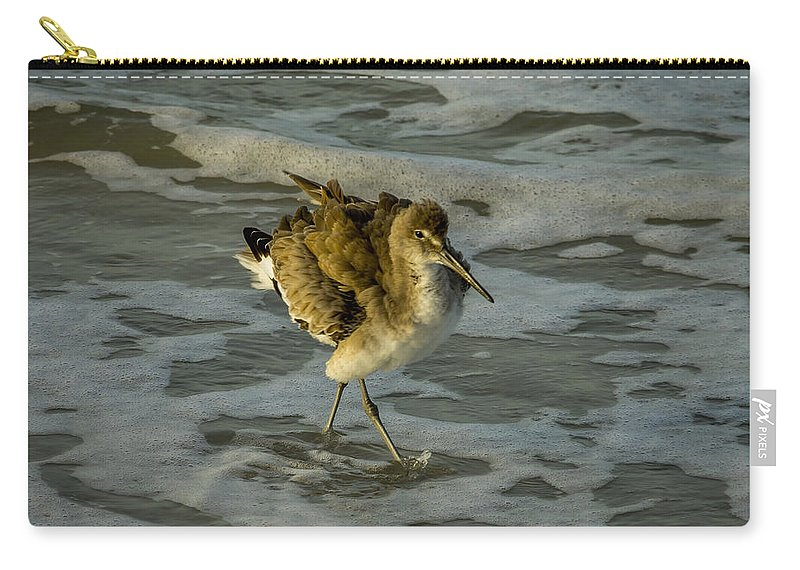 Avian Carry-all Pouch featuring the photograph Willet Washing 1 by Nancy L Marshall