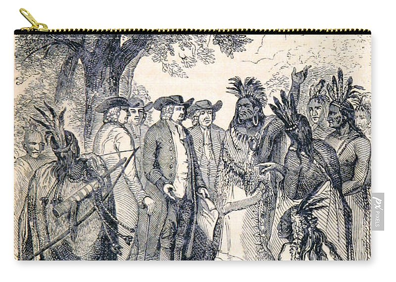 History Carry-all Pouch featuring the photograph William Penns Treaty With The Indians by British Library