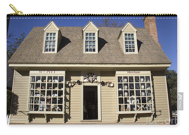 Colonial Williamsburg Carry-all Pouch featuring the photograph William Pitt Shop Williamsburg Virginia by Teresa Mucha