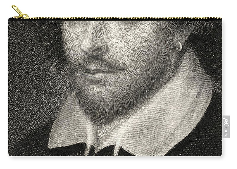 Poet Carry-all Pouch featuring the drawing William Shakespeare by English School