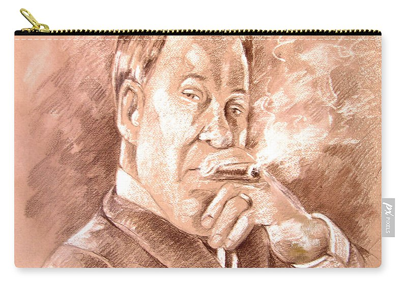 Portrait William Shatner Carry-all Pouch featuring the painting William Shatner As Denny Crane In Boston Legal by Miki De Goodaboom