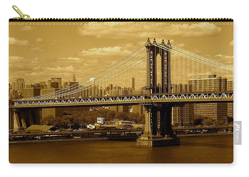 Iphone 5 Cover Cases Carry-all Pouch featuring the photograph Williamsburg Bridge New York City by Monique's Fine Art