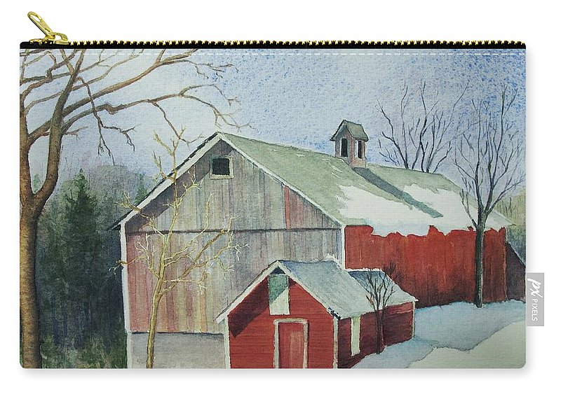 New England Carry-all Pouch featuring the painting Williston Barn by Mary Ellen Mueller Legault