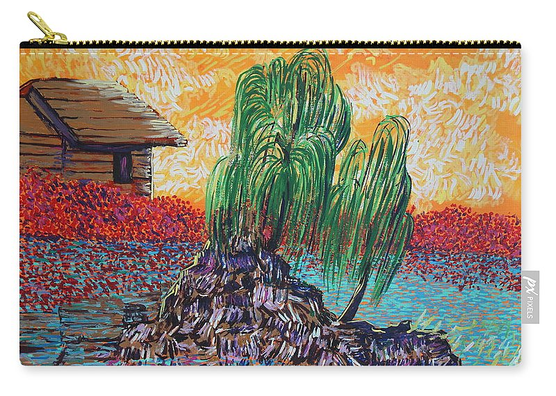 Landscape Carry-all Pouch featuring the painting Willow Tree Isle by Stefan Duncan