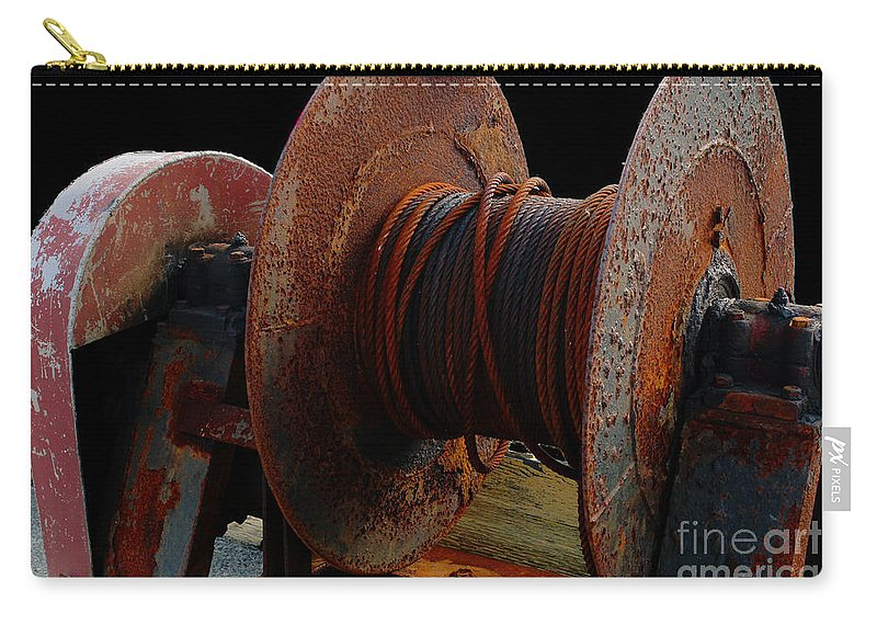 Winch Carry-all Pouch featuring the photograph Winch - Cable - Crank - Boats by Barbara Griffin