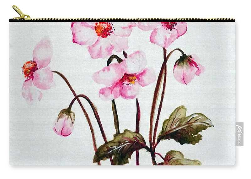 Florals Carry-all Pouch featuring the painting Wind Flowers by Karin Dawn Kelshall- Best