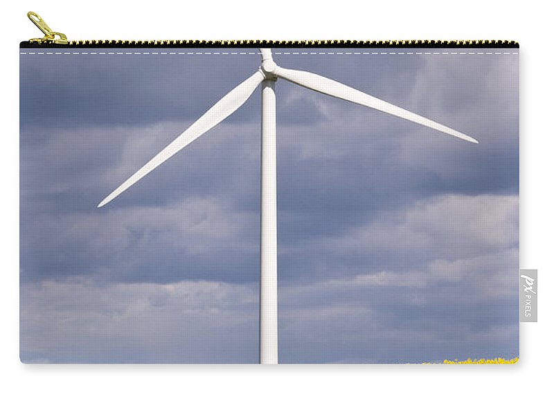 Agriculture Carry-all Pouch featuring the photograph Wind Turbine With Rapeseed by David Head
