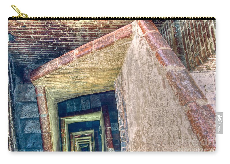 Abstract Carry-all Pouch featuring the photograph Winding Square Staircase Of Old Brick-walled Tower by Stephan Pietzko
