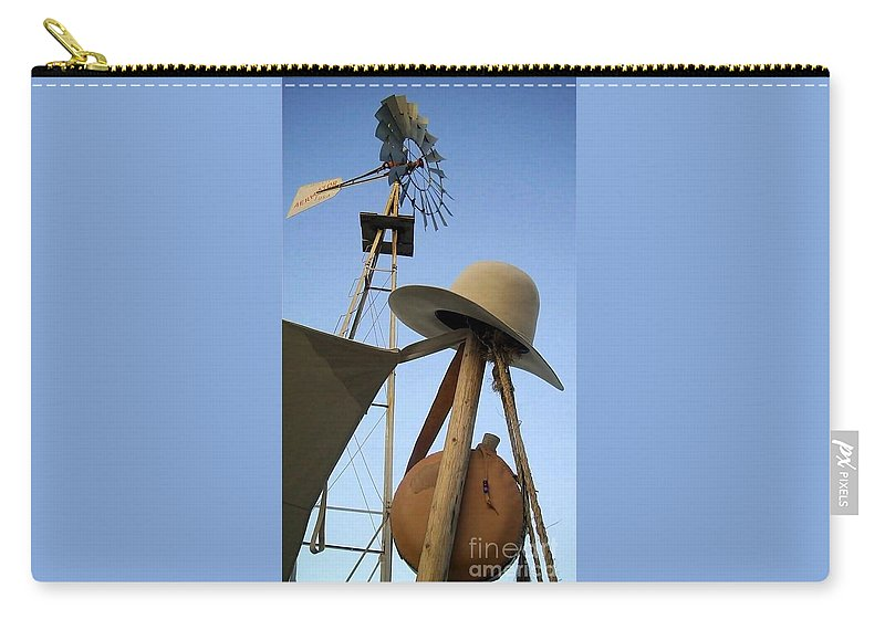 Windmill Carry-all Pouch featuring the photograph Windmill Canteen And Cowboy Hat 1 by Cindy New
