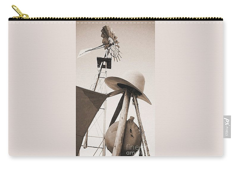 Windmill Carry-all Pouch featuring the photograph Windmill Canteen And Cowboy Hat 4 by Cindy New
