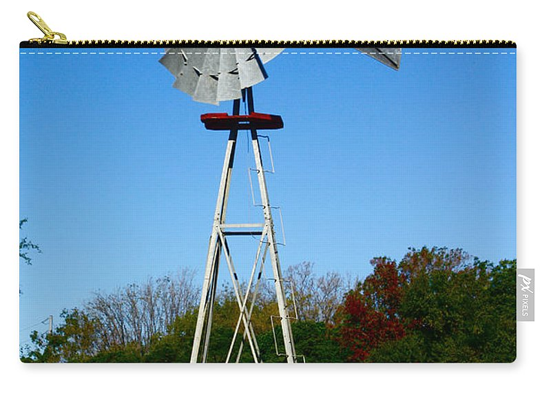Windmill Carry-all Pouch featuring the photograph Windmill by Carol Tsiatsios