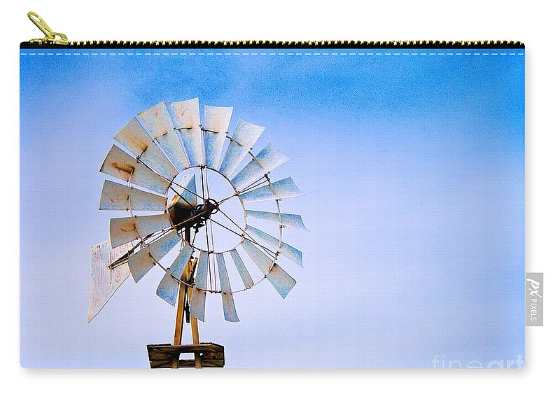 Windmill Carry-all Pouch featuring the photograph Windmill In Winter by Gary Richards