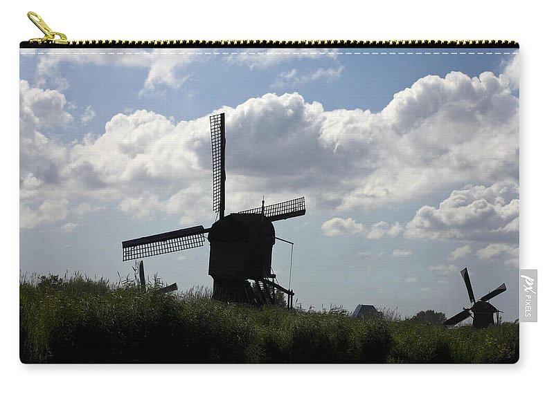 2 Windmills Carry-all Pouch featuring the photograph Windmills Silhouette by Sally Weigand