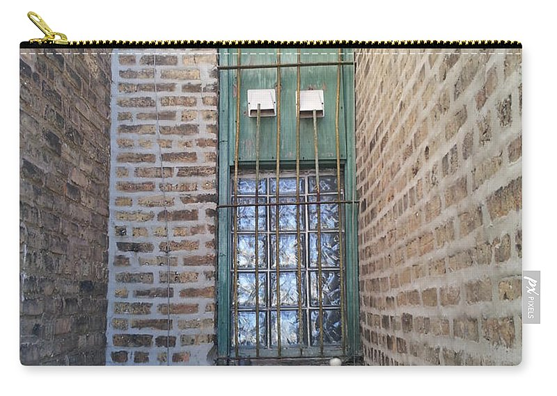 Street Art Carry-all Pouch featuring the photograph Window Against The Wall by Zac AlleyWalker Lowing
