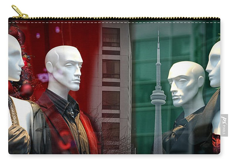 Art Carry-all Pouch featuring the photograph Window Display In Toronto At Christmas Time by Randall Nyhof