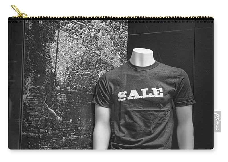 Art Carry-all Pouch featuring the photograph Window Display Sale In Black And White Photograph With Mannequin No.0129 by Randall Nyhof