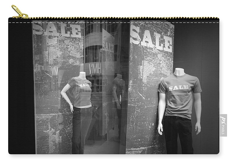 Art Carry-all Pouch featuring the photograph Window Display Sale With Mannequins No.1292 by Randall Nyhof