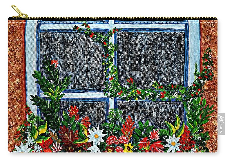 Window Flower Box On A Stucco Wall Carry-all Pouch featuring the painting Window Flower Box On A Stucco Wall by Barbara Griffin