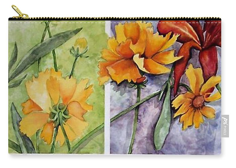 Daisy Carry-all Pouch featuring the painting Window Pain by Barbara Beck-Azar