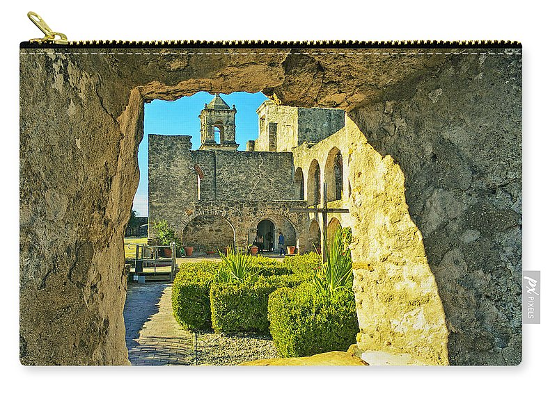 Arizona Carry-all Pouch featuring the photograph Window View Of Mission by Phill Doherty