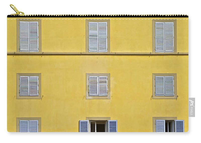 Balcony Carry-all Pouch featuring the photograph Windows Of Florence Against A Faded Yellow Plaster Wall by David Letts