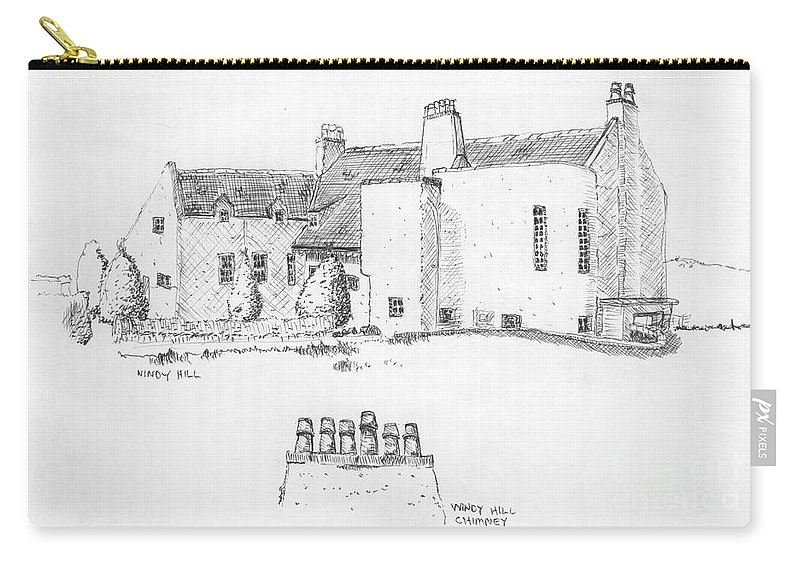 Ink Sketch Carry-all Pouch featuring the drawing Windy Hill House by Ron Bissett