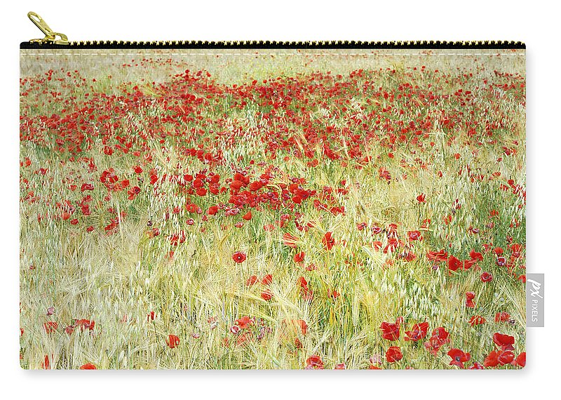 Poppies Carry-all Pouch featuring the photograph Windy Poppies At The Fields by Guido Montanes Castillo