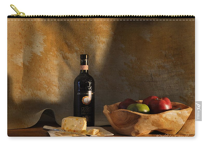 Feature Art Carry-all Pouch featuring the photograph Wine And Cheese 1 by Paulette B Wright
