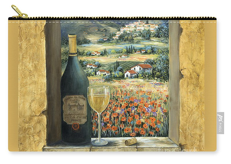 Wine Carry-all Pouch featuring the painting Wine And Poppies by Marilyn Dunlap