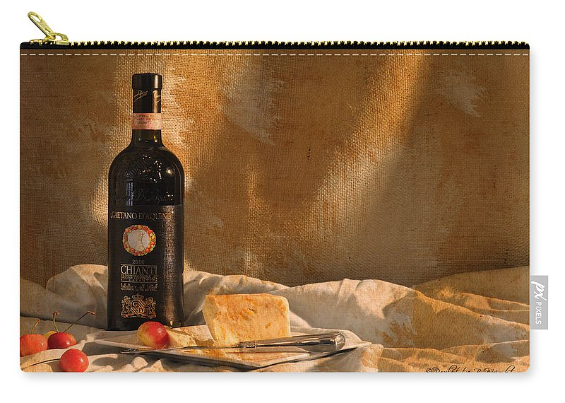 Feature Art Carry-all Pouch featuring the photograph Wine Cherries And Cheese by Paulette B Wright