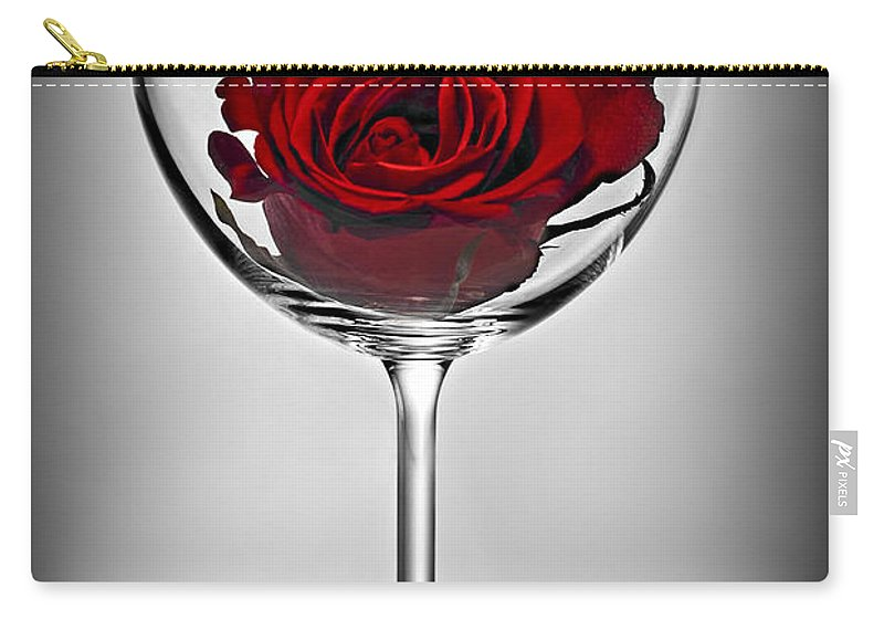 Glass Carry-all Pouch featuring the photograph Wine Glass With Rose by Elena Elisseeva