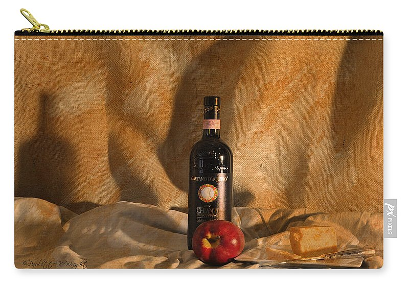 Feature Art Carry-all Pouch featuring the photograph Wine With An Apple And Cheese by Paulette B Wright