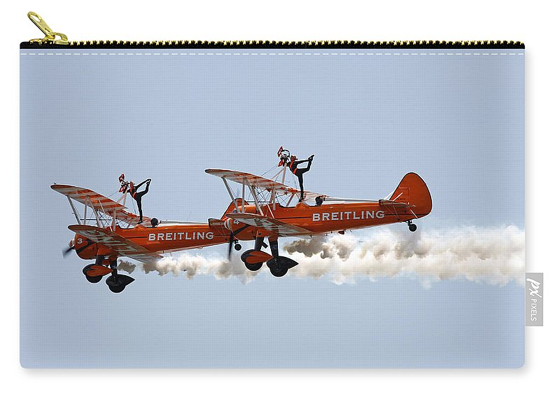 Aerobatics Carry-all Pouch featuring the photograph Wing Walkers by Steve Ball