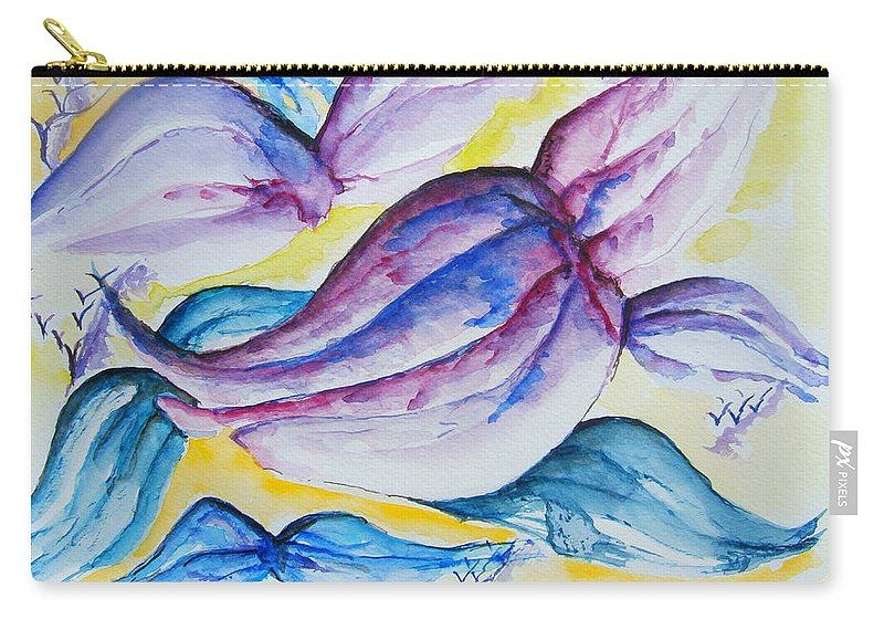 Wings Carry-all Pouch featuring the painting Wings by Elaine Duras