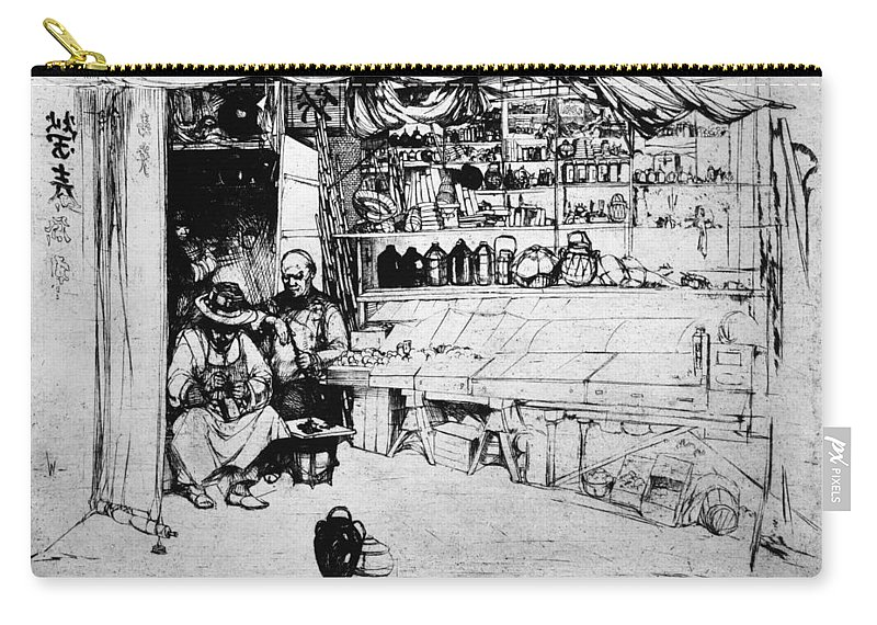1922 Carry-all Pouch featuring the painting Winkler Ginger Shop, 1922 by Granger