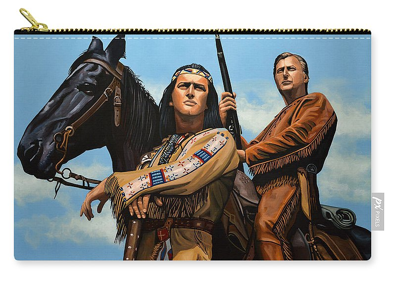 Winnetou Carry-all Pouch featuring the painting Winnetou and Old Shatterhand by Paul Meijering