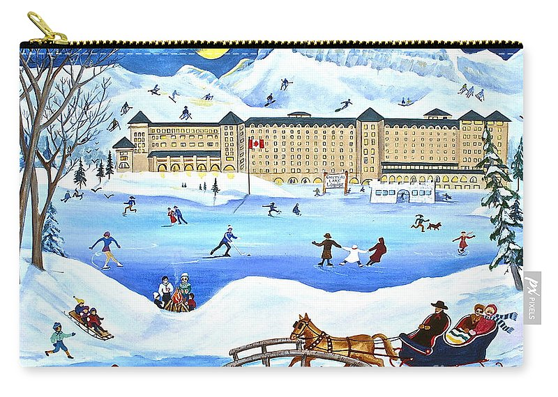 Ice Magic Carry-all Pouch featuring the painting Winter At Lake Louise Chateau by Virginia Ann Hemingson