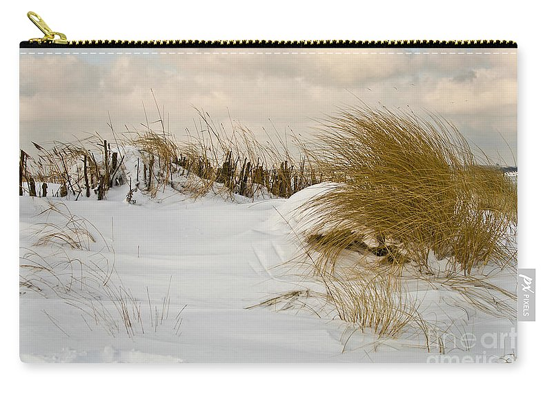 Snowy Beach Carry-all Pouch featuring the photograph Winter At The Beach 3 by Heiko Koehrer-Wagner