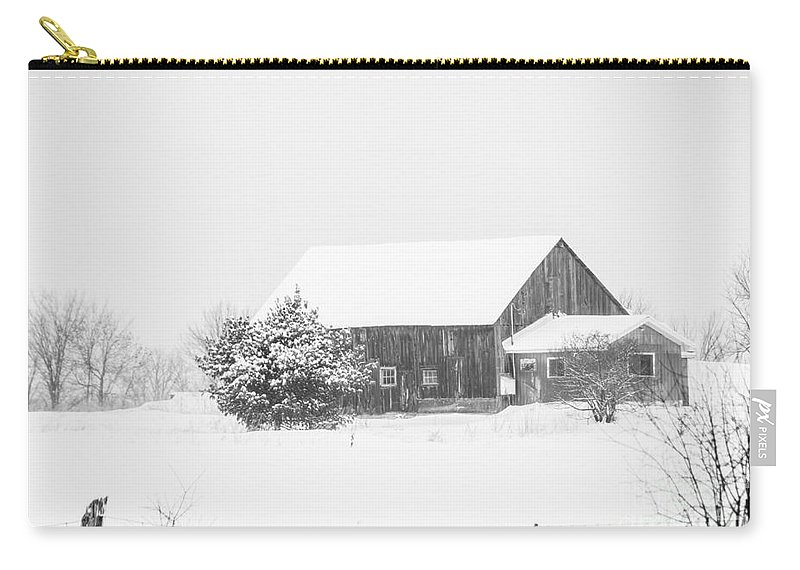Carry-all Pouch featuring the photograph Winter Barn by Cheryl Baxter