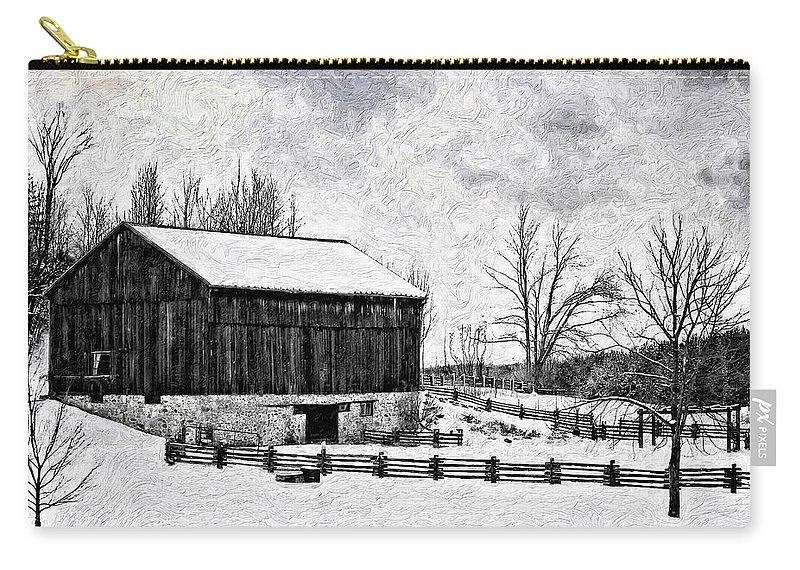 Barn Carry-all Pouch featuring the photograph Winter Barn Impasto Version by Steve Harrington