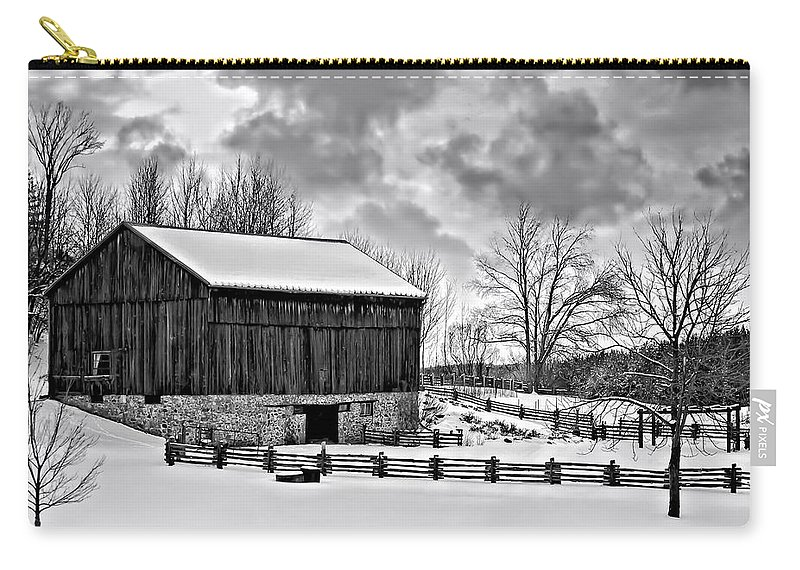 Barn Carry-all Pouch featuring the photograph Winter Barn Monochrome by Steve Harrington