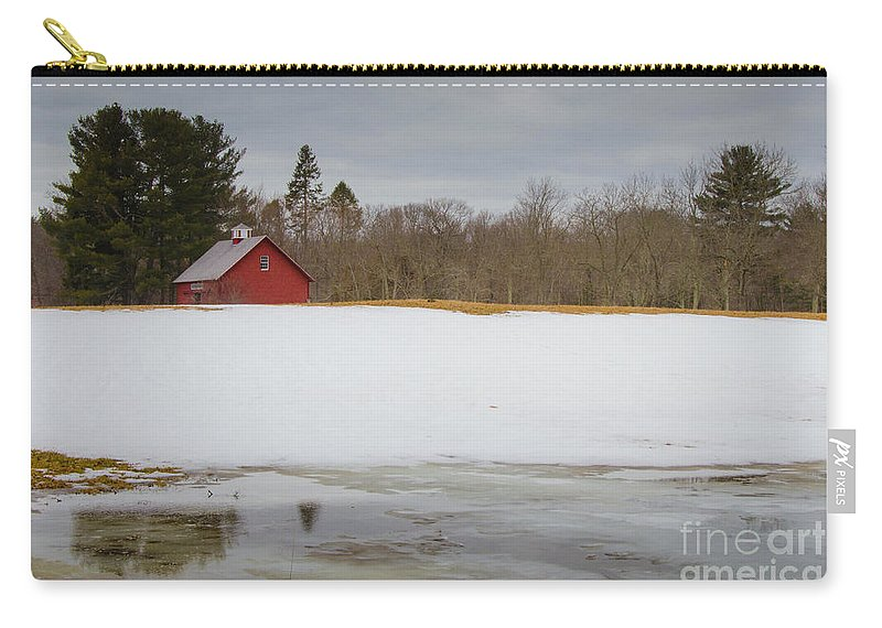 Red Carry-all Pouch featuring the photograph Winter Barn by Pat Lucas