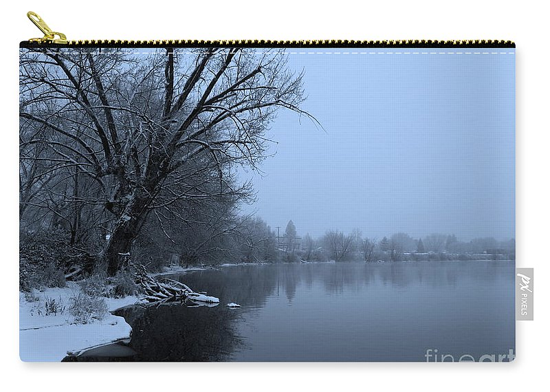 Blue Carry-all Pouch featuring the photograph Winter Blues by Carol Groenen