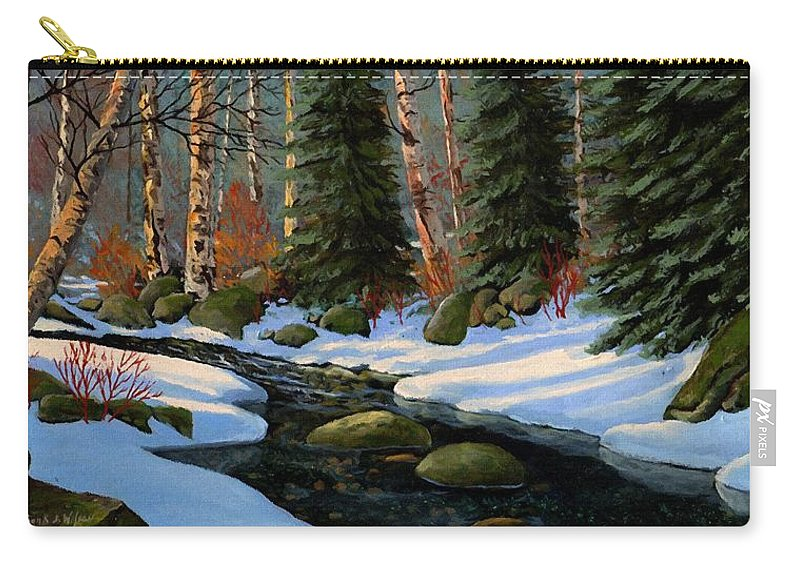 Landscape Carry-all Pouch featuring the painting Winter Brook by Frank Wilson