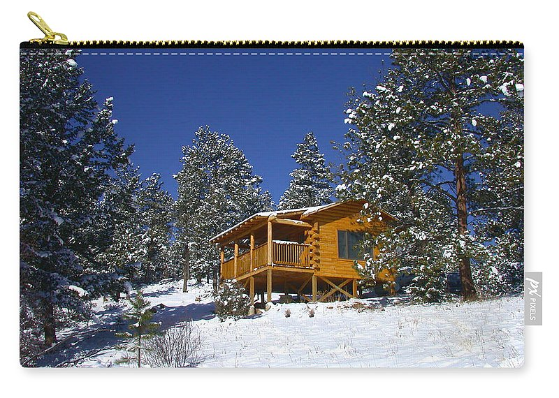 Winter Carry-all Pouch featuring the photograph Winter Cabin by Shane Bechler