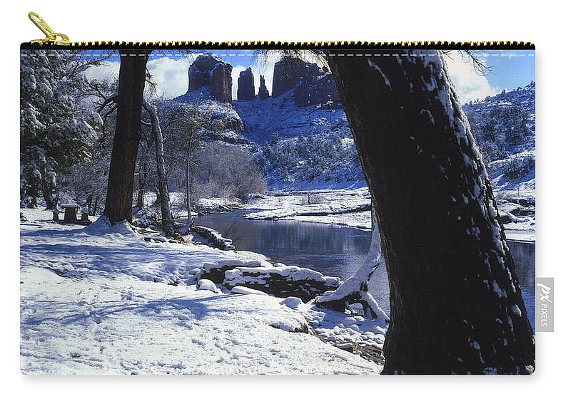 Arizona Carry-all Pouch featuring the photograph Winter Cathedral Rock by Bob Bradshaw