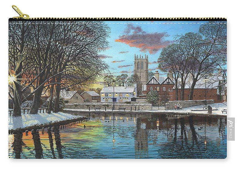 Tickhill Carry-all Pouch featuring the painting Winter Evening Tickhill Yorkshire by Richard Harpum