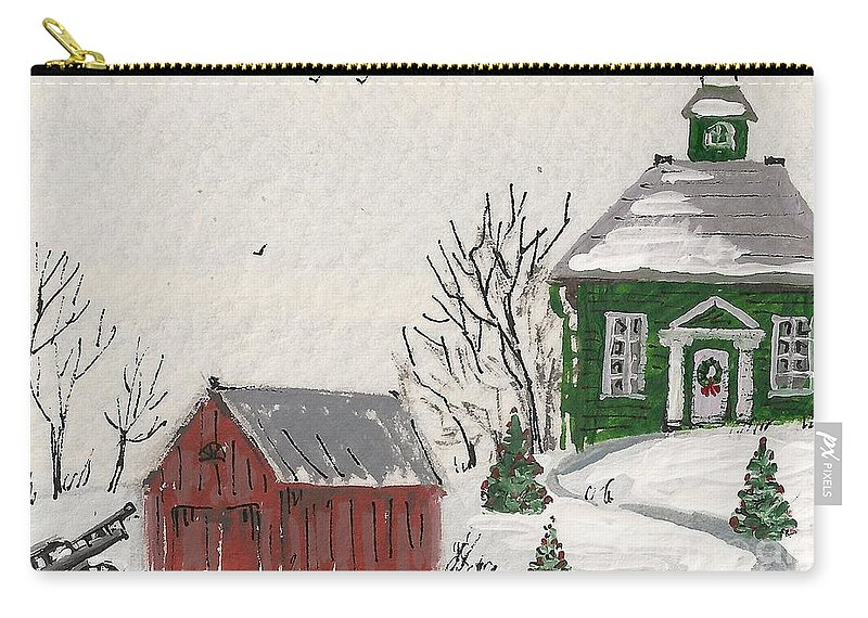 Ryta Carry-all Pouch featuring the painting Winter Farm House by Margaryta Yermolayeva