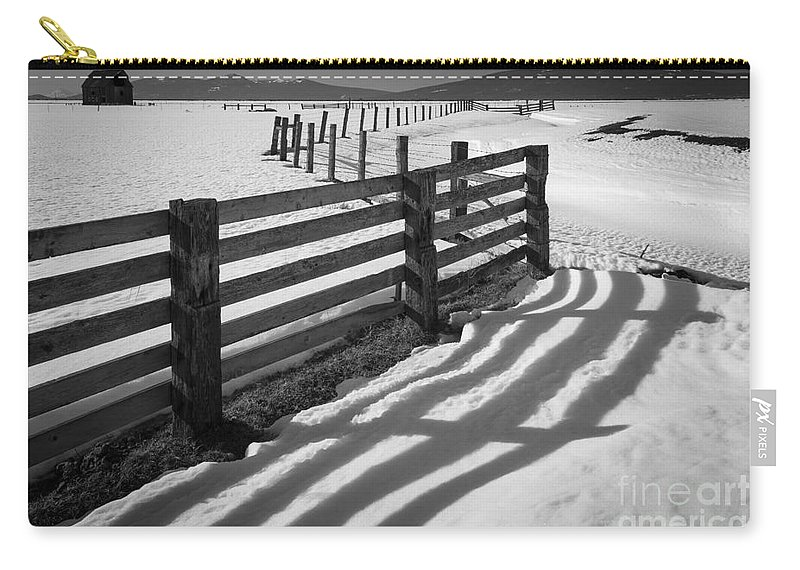 America Carry-all Pouch featuring the photograph Winter Fence by Inge Johnsson